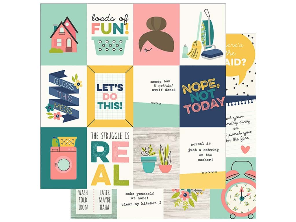 "Simple Stories Collection Domestic Bliss Paper 12""x 12"" Journaling Card Elements 3""x 4"" (25 pieces)"