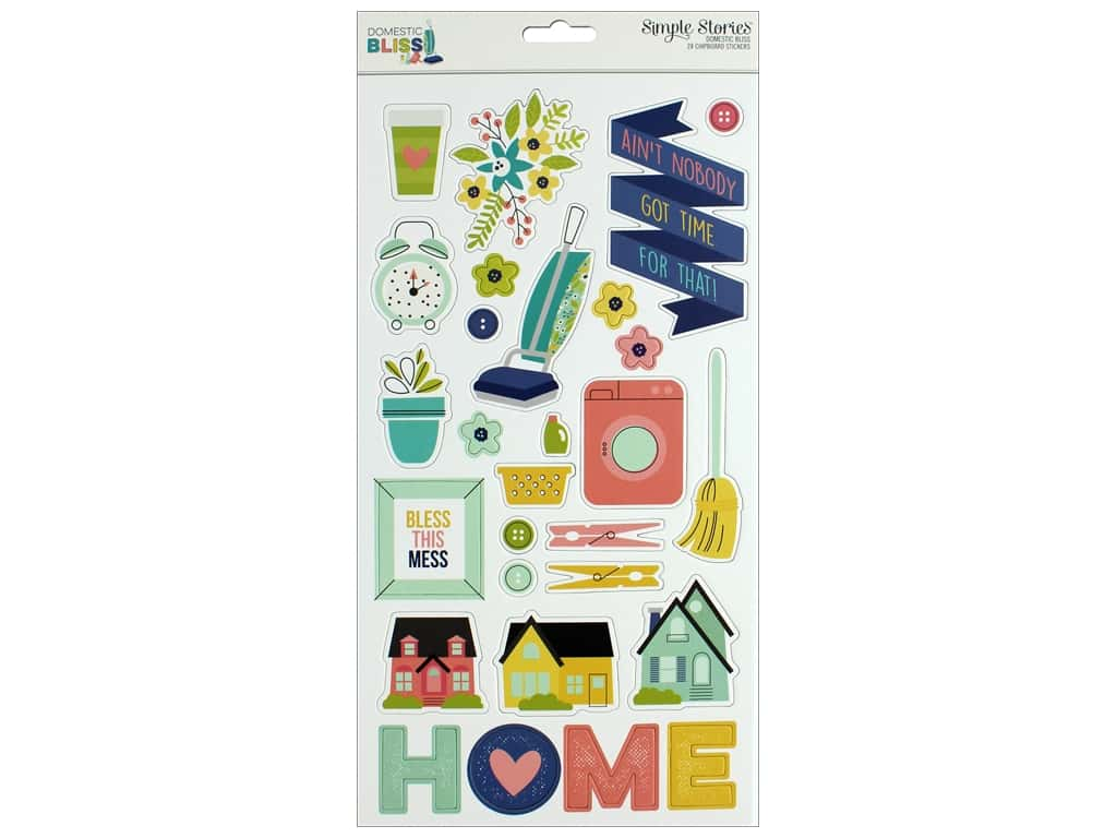 """Simple Stories Collection Domestic Bliss Chipboard 6""""x 12"""""""