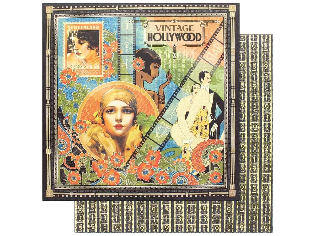 """Graphic 45 Collection Vintage Hollywood Paper 12""""x 12"""" (25 pieces)"""