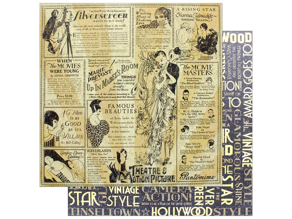 "Graphic 45 Collection Vintage Hollywood Paper 12""x 12"" Silver Screen (25 pieces)"