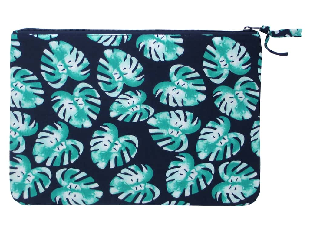 Darice All-Purpose Zippered Fabric Pouch - Palm Blue