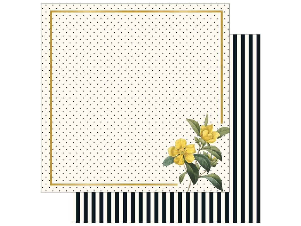 """My Mind's Eye Collection In Bloom Paper 12""""x 12"""" Gold Foil Flora (25 pieces)"""