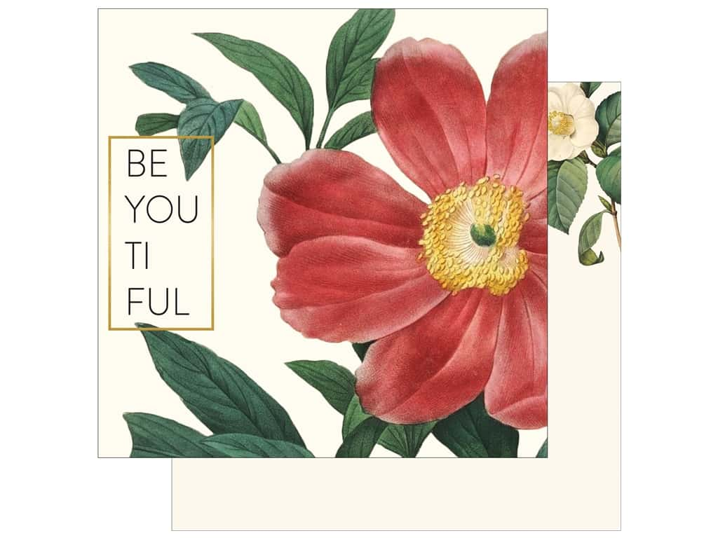 """My Mind's Eye Collection In Bloom Paper 12""""x 12"""" Gold Foil Beyoutiful (25 pieces)"""