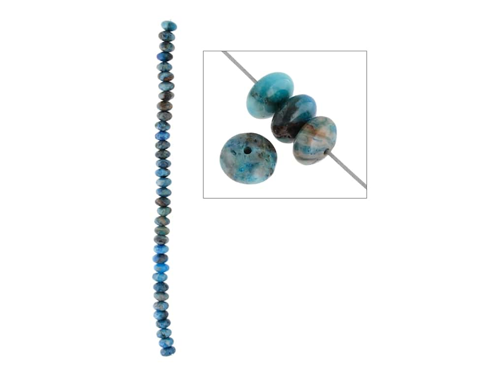 John Bead Semi-Precious 8 in. 8 mm Rondelle Blue Crazy Lace Agate