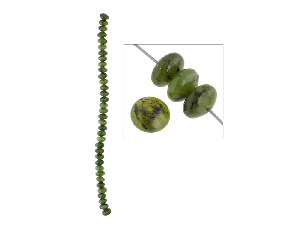 John Bead Semi-Precious 8 in. 8 mm Rondelle Canadian Jade