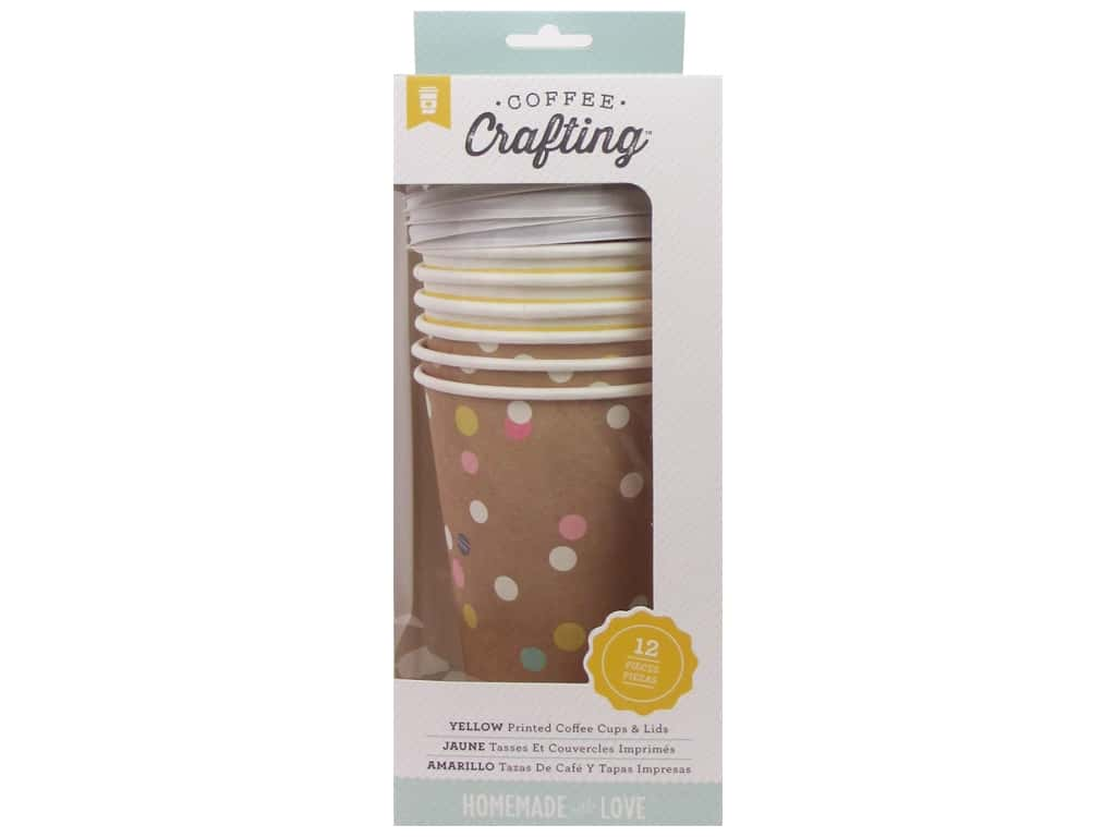 American Crafts Homemade with Love Coffee Cups & Lids 6 pc. Yellow