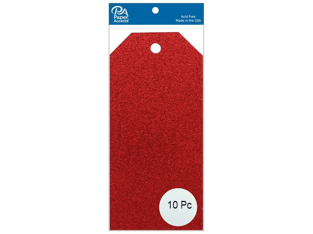 Paper Accents Craft Tags 2 1/2 x 5 1/4 in. 10 pc. Glitter Red