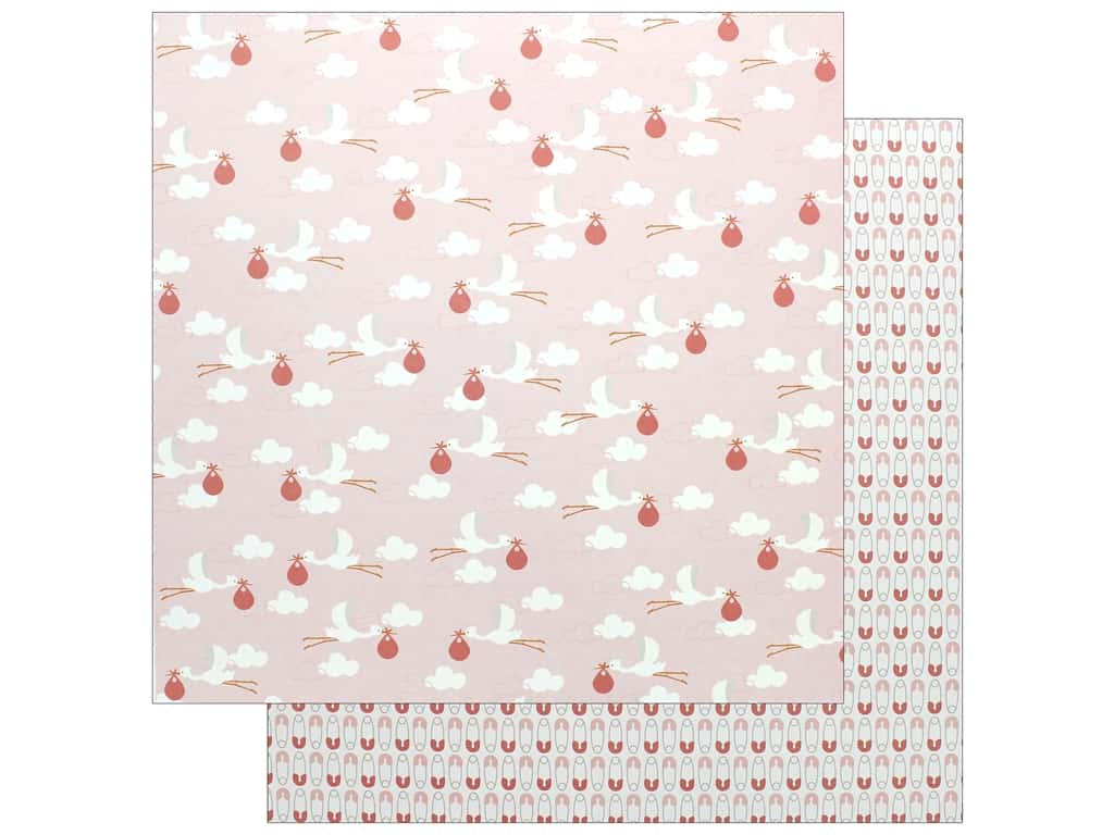 """Pebbles Collection Lullaby Paper 12""""x 12"""" Baby Girl Delivering (25 pieces)"""