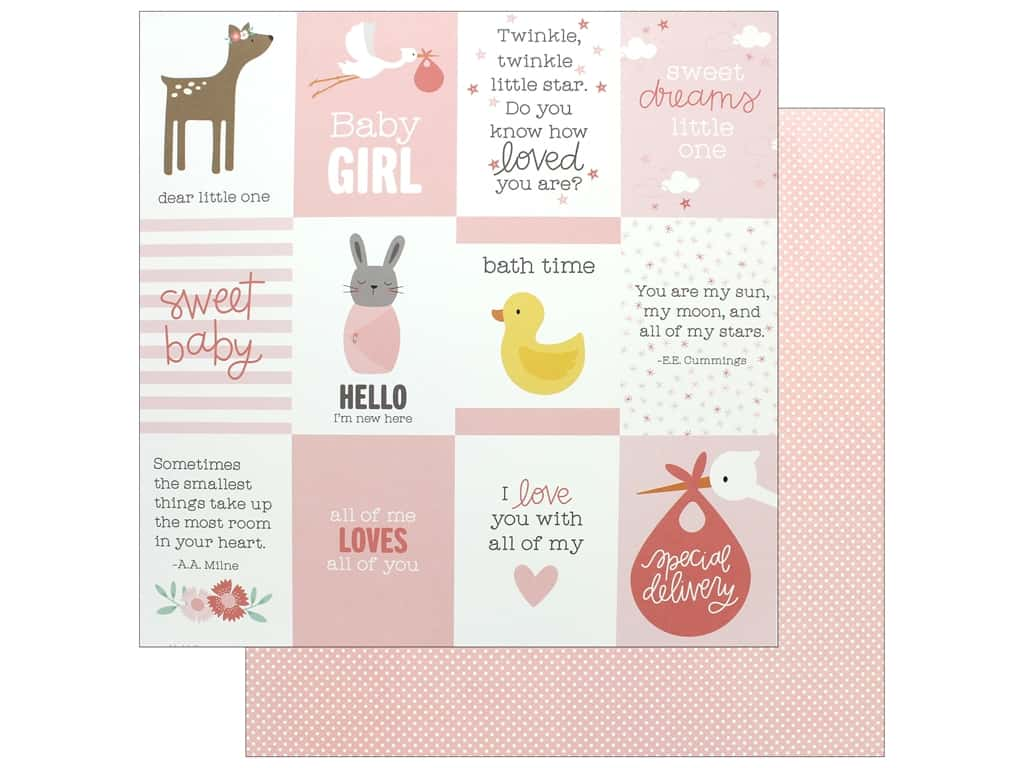 """Pebbles Collection Lullaby Paper 12""""x 12"""" Baby Girl Quotes (25 pieces)"""