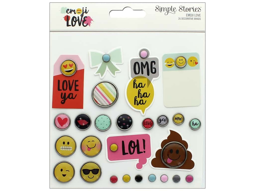 Simple Stories Collection Emoji Love Decorative Brads