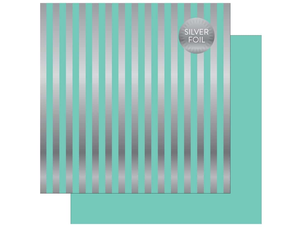 "Echo Park Collection Dots & Stripes Silver Foil Stripe Paper 12""x 12"" Mint (25 pieces)"