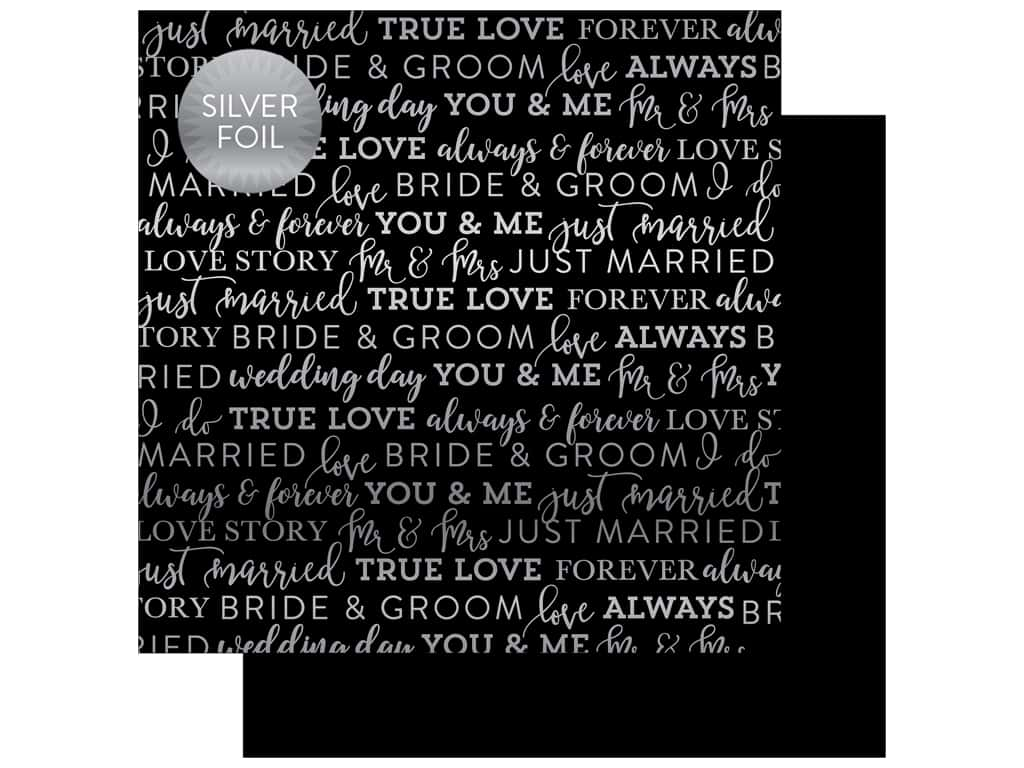 "Carta Bella Collection Love Paper 12""x 12"" Foil Black (25 pieces)"