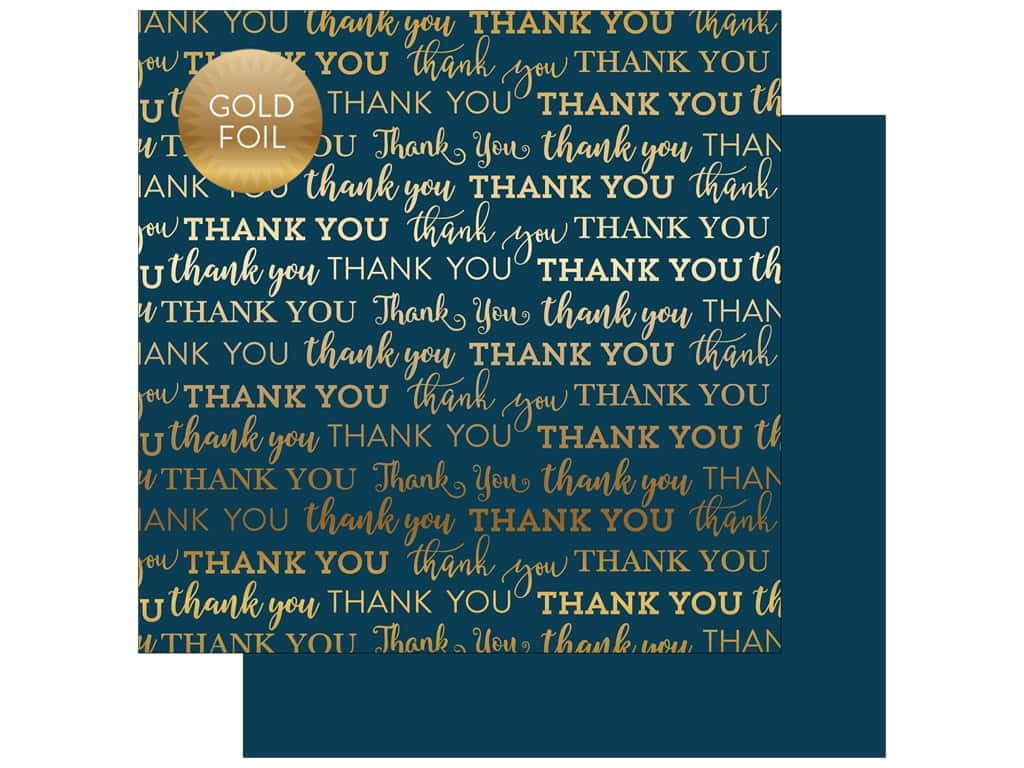 "Carta Bella Collection Thank You Paper 12""x 12"" Foil Navy (25 pieces)"