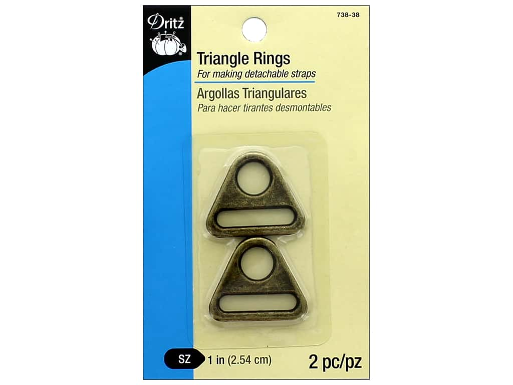 Dritz Triangle Rings 1 in. 2 pc. Antique Brass