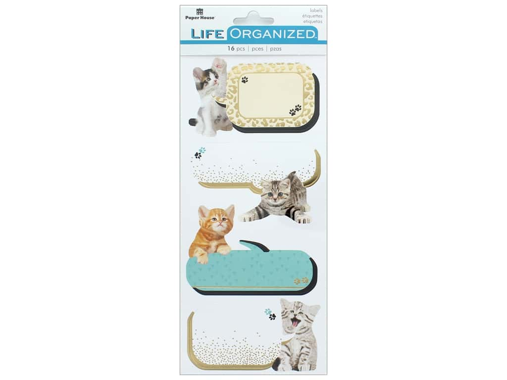 Paper House Collection Life Organized Sticker Label Kittens