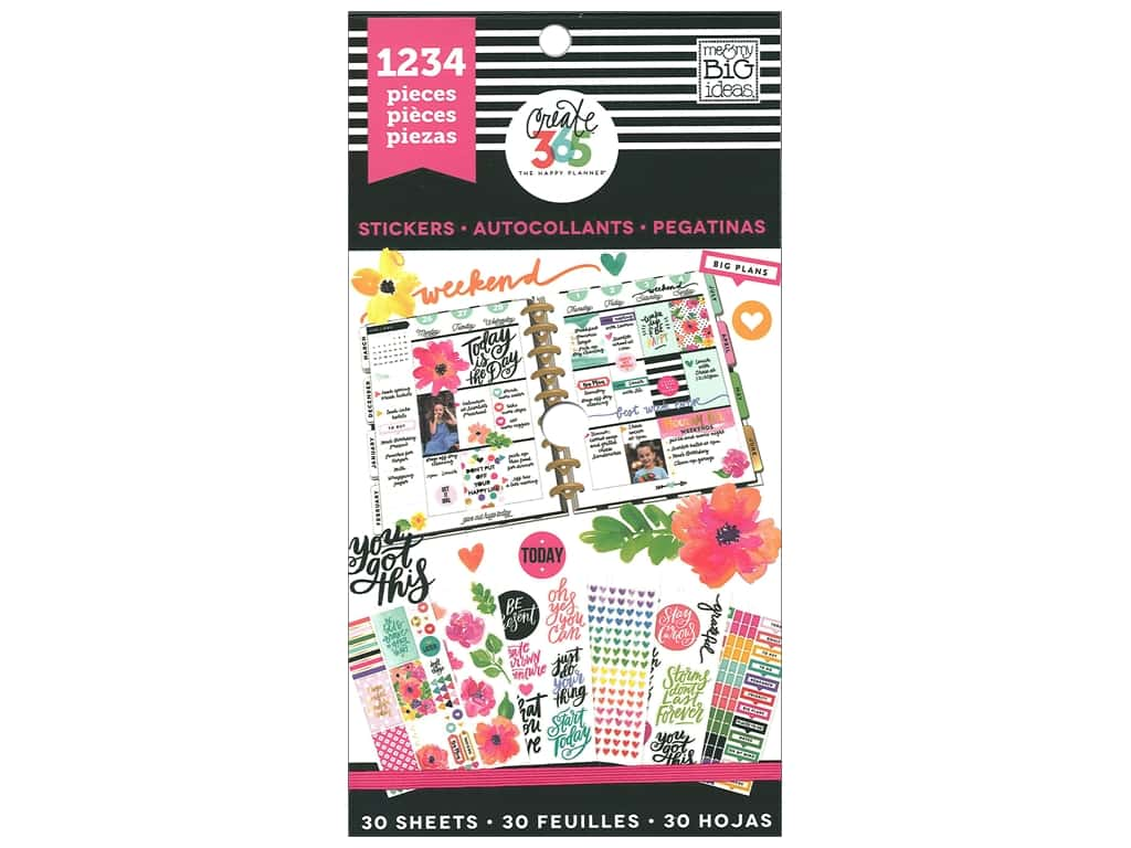 Me&My Big Ideas Collection Create 365 Happy Planner Sticker Value Pack Today Is The Day