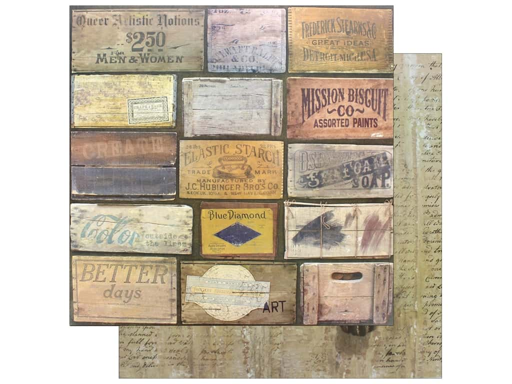 """7 Gypsies Collection Architextures Paper 12""""x 12"""" Stenciled Crates (15 pieces)"""