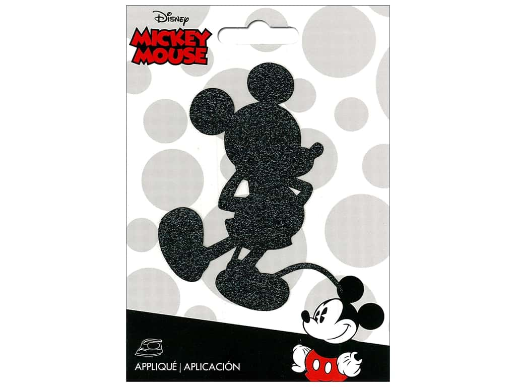 Simplicity Disney Iron On Applique Small Mickey Black Shimmer