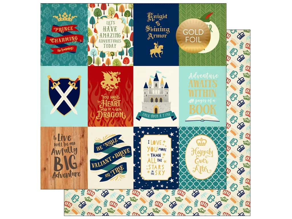 """Echo Park Collection Once Upon A Time Prince Paper 12""""x 12"""" Journaling Cards 3""""x 4"""" (25 pieces)"""