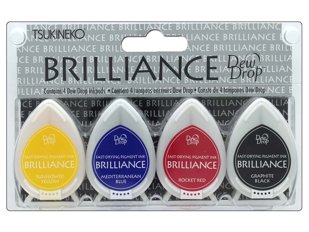 Tsukineko Brilliance Dew Drop Stamp Pad Set 4 pc. Basics