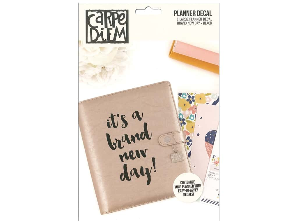 Simple Stories Collection Carpe Diem Planner Decal Large New Day Black