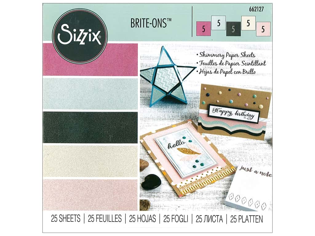 Sizzix Brite-ons Paper Sheets 6 x 6 in. Assorted