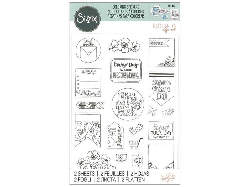 Sizzix Katelyn Lizardi Coloring Stickers Color Your Planner