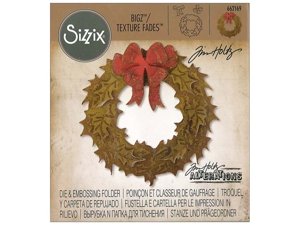 Sizzix Tim Holtz Bigz Die with Texture Fades Layered Holiday Wreath