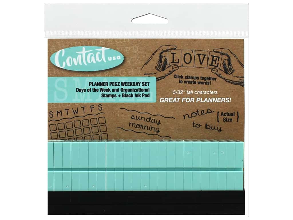 Contact USA Clickable Stamp Set Planner Pegz Weekday Black Ink Pad 20pc