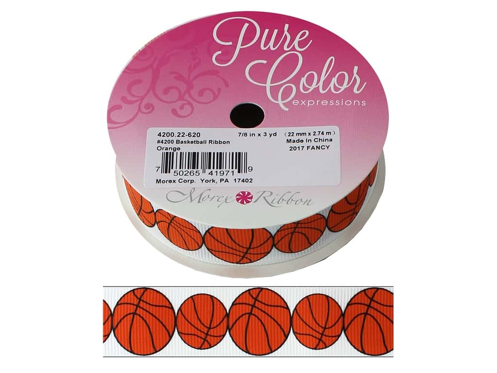 "Morex Ribbon Grosgrain Sports Basketball 7/8""x 3yd Orange"