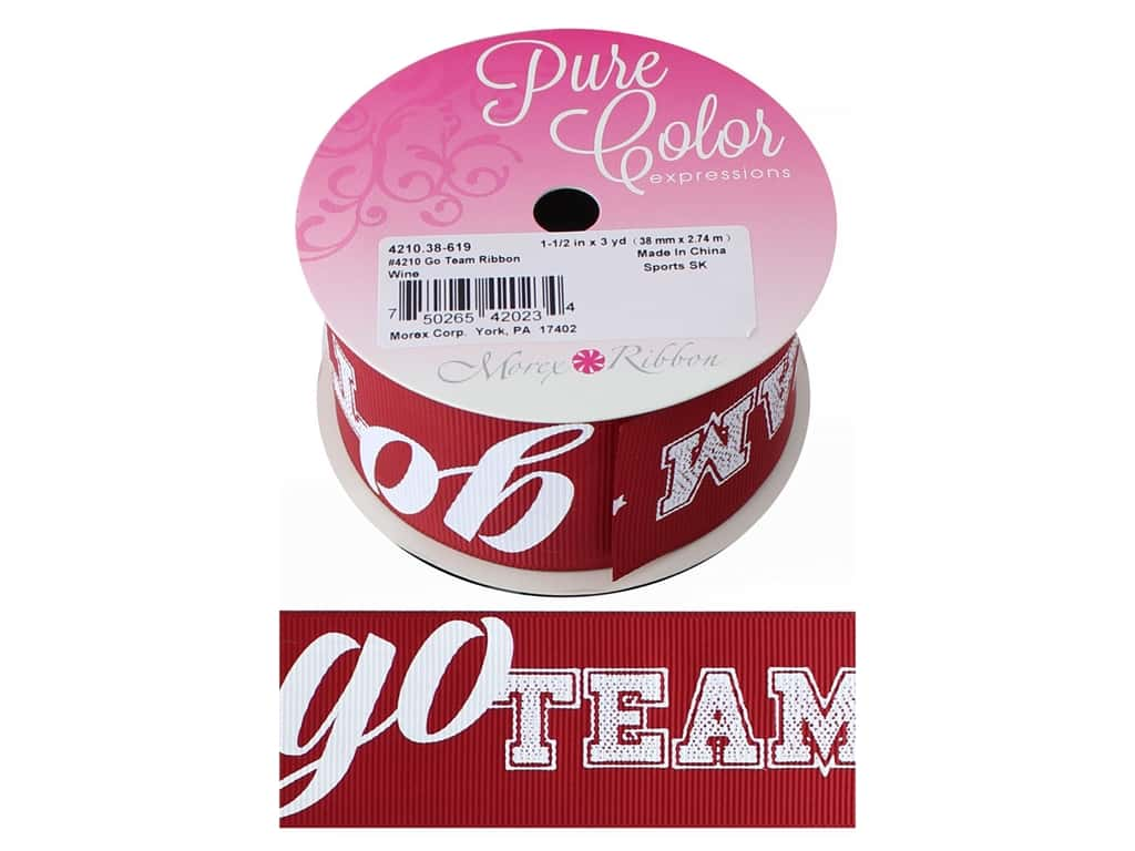 Morex Ribbon Grosgrain Sports Go Team 1.5 in. x 3 yd Wine