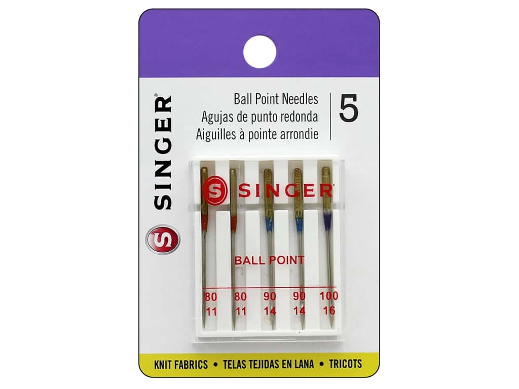 Singer Machine Needle Ball Point Size 11/14/16 5pc