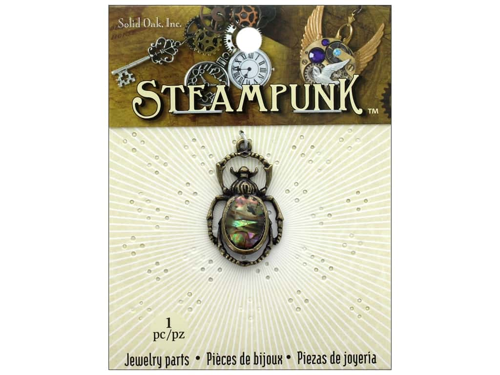Solid Oak Charm Steampunk Beetle With Paua Shell