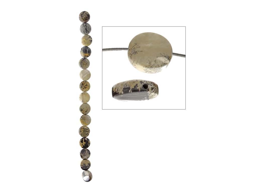 John Bead Semi-Precious 8 in. 12 mm Coin Artistic Stone