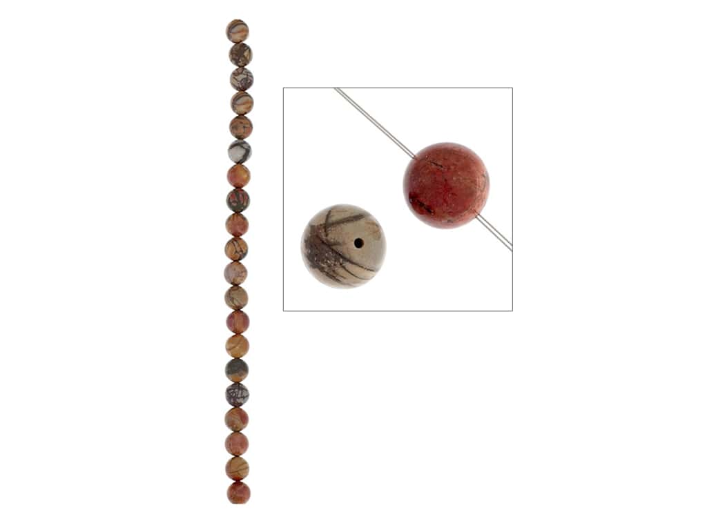 John Bead Semi Precious Bead 8 in. Jasper 8 mm Round Red Creek