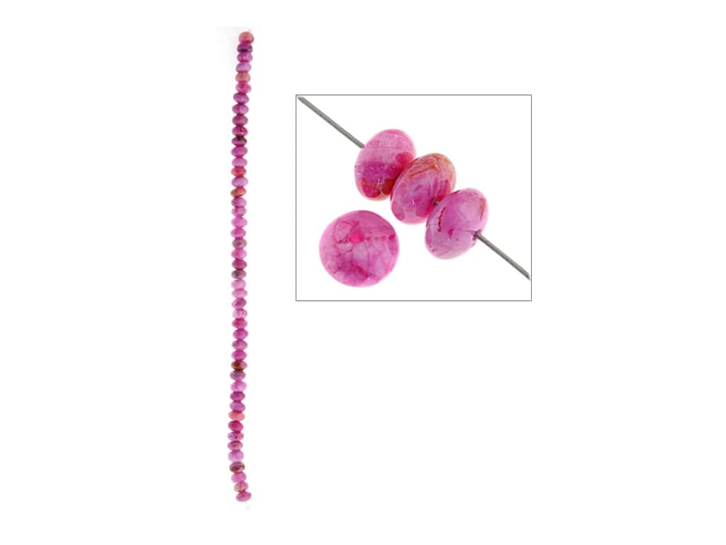 John Bead Semi-Precious 8 in. 6 mm Rondelle Pink Crazy Lace