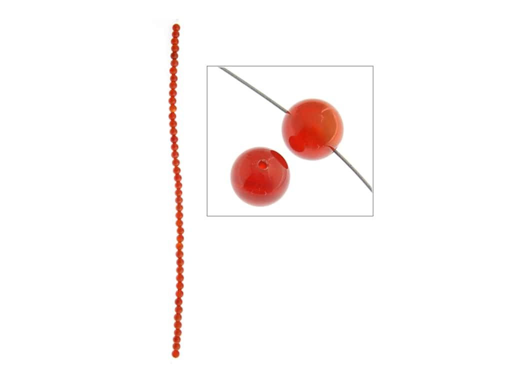John Bead Semi-Precious 8 in. 4 mm Round Carnelian