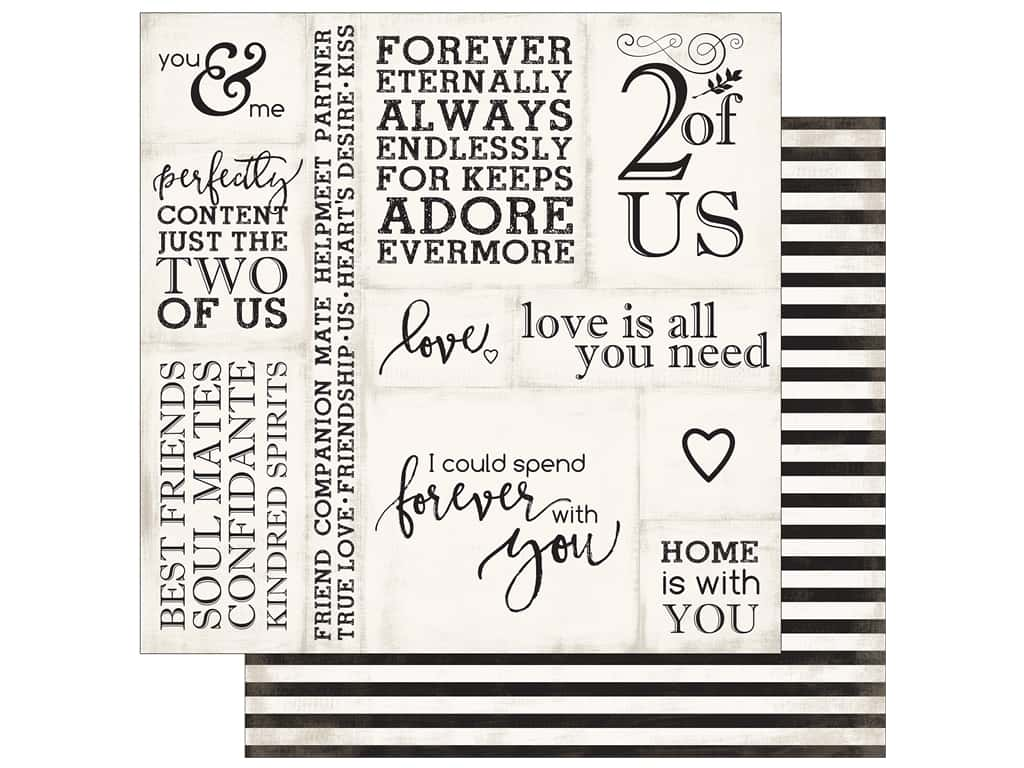 """Echo Park Collection Wedding Bliss Paper 12""""x 12"""" Loving Words (25 pieces)"""