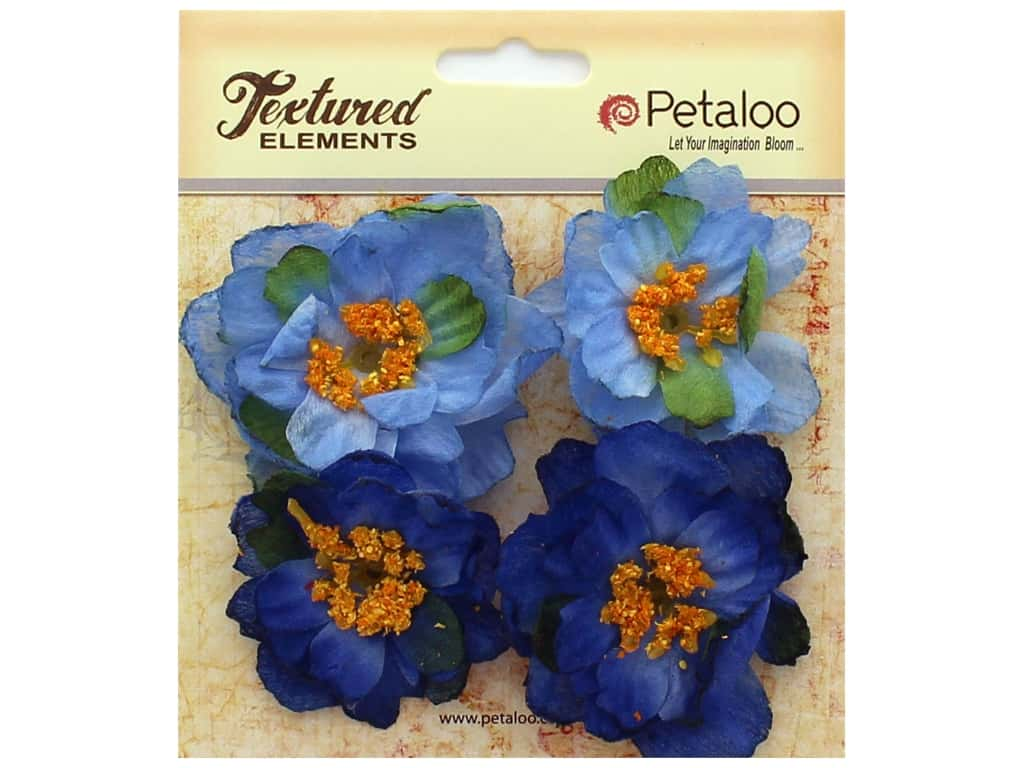Petaloo Botanica Collection Ruffled Peony Blue 4pc
