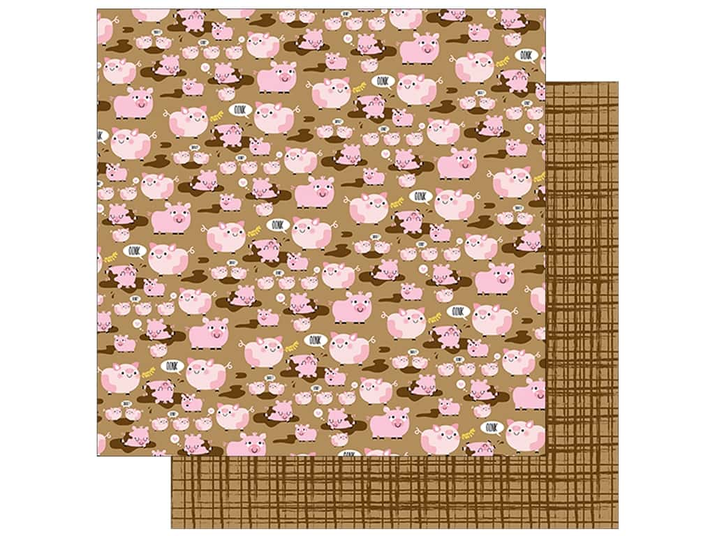 "Bella Blvd Collection Barnyard Paper 12""x 12"" Oink Oink (25 pieces)"