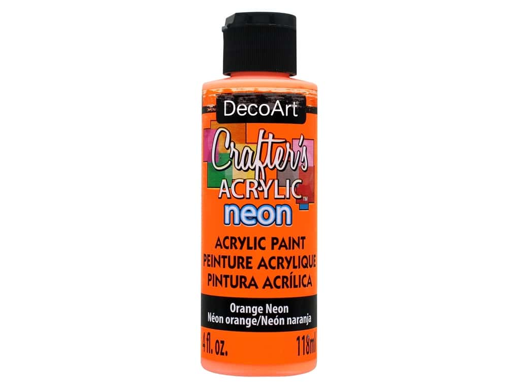 DecoArt Crafter's Acrylic Paint 4 oz. Neon Orange