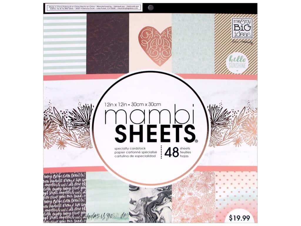 Me & My Big Ideas Sheets 12 x 12 in. Cardstock Pad Rose Marble