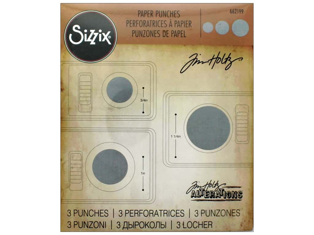 Sizzix Paper Punch Set Tim Holtz Circles 3pc