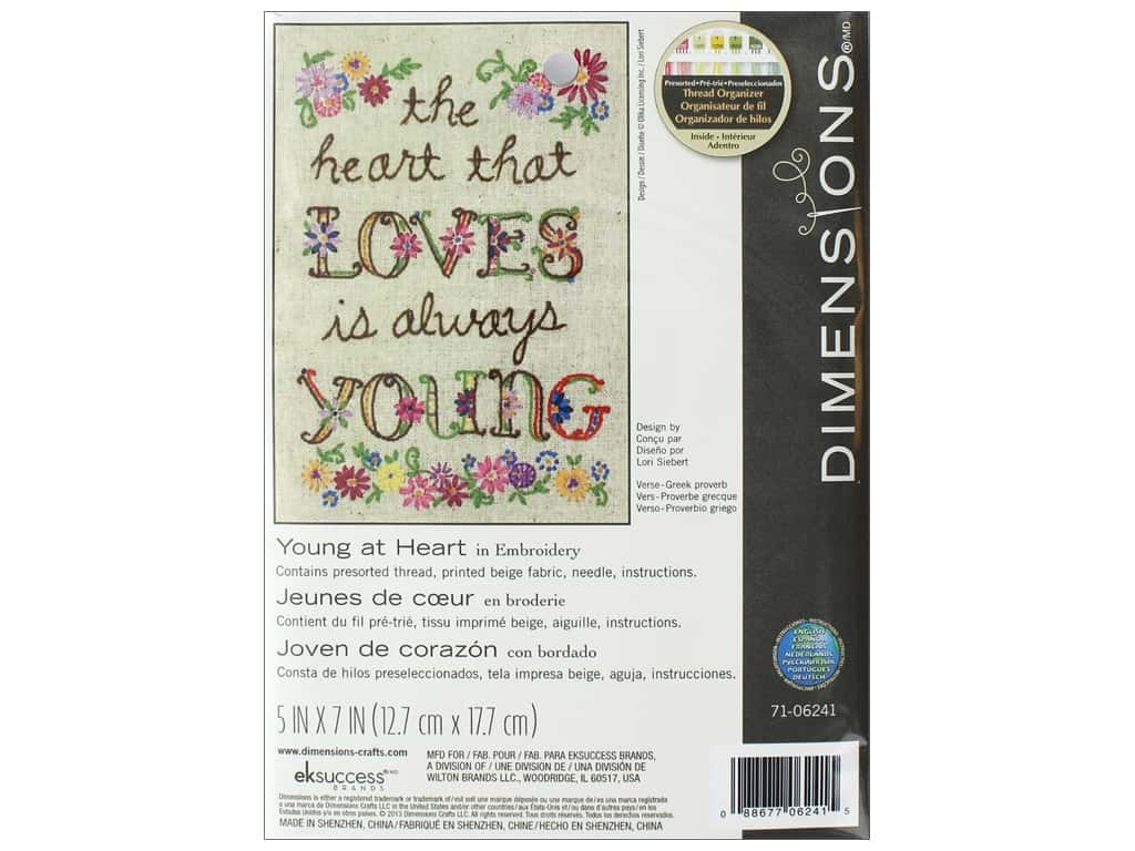 """Dimensions Embroidery Kit 5""""x 7"""" Young At Heart"""