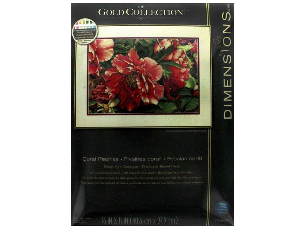 """Dimensions Cross Stitch Kit Gold Collection 16""""x 11"""" Coral Peonies"""