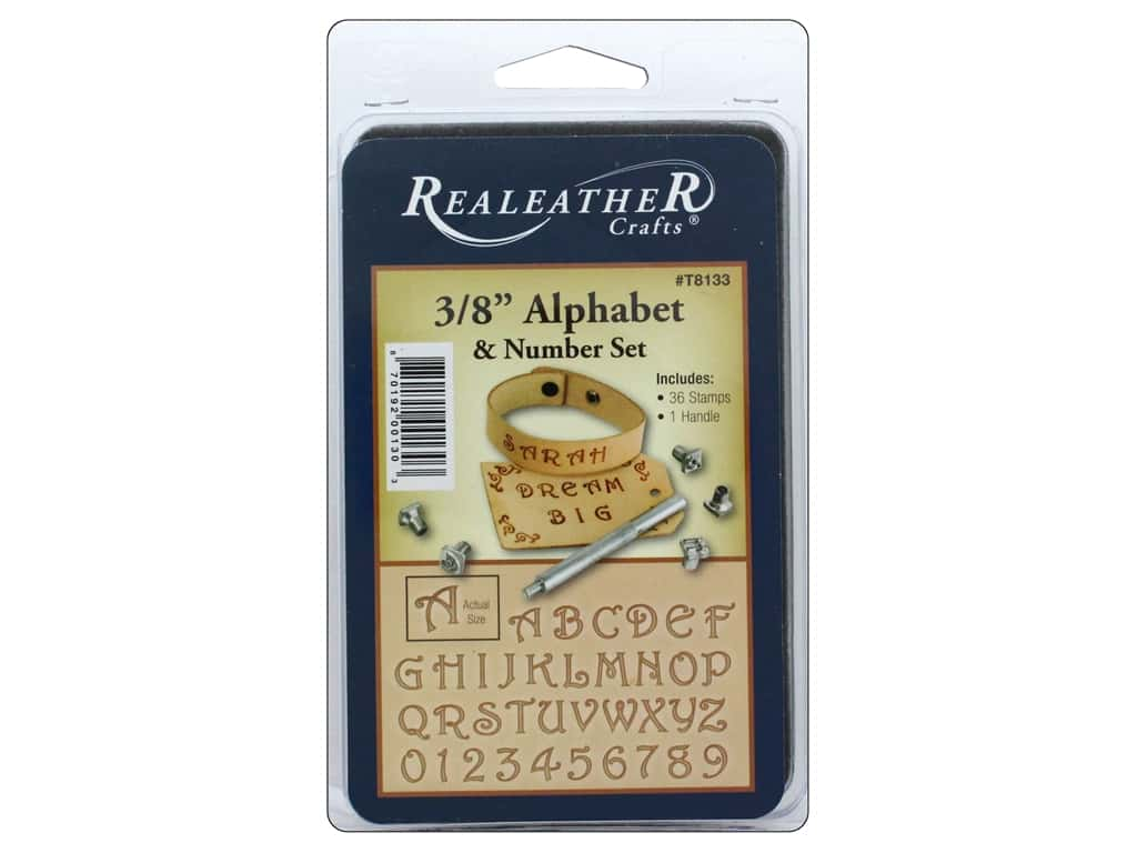 REALEATHER by Silver Creek Stamp Tool Set 3/8 in. Alphabet & # Fancy