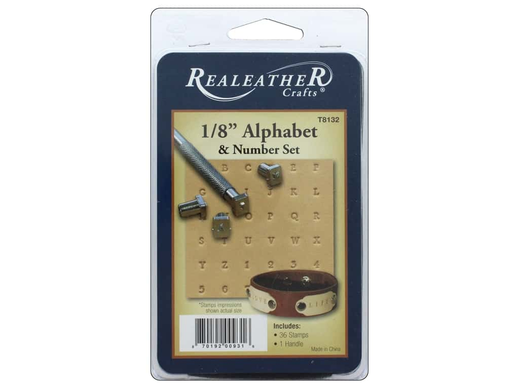 REALEATHER by Silver Creek Stamp Set 1/8 in. Alphabet & #