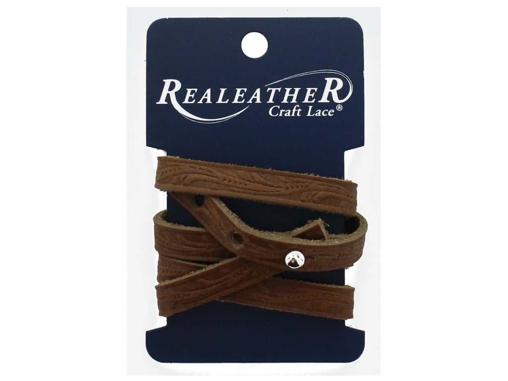 REALEATHER by Silver Creek Leather Wrap Bracelet Floral Tooling Toffee