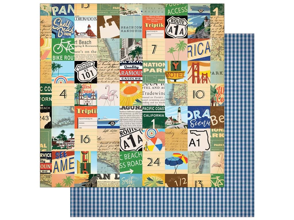 """Carta Bella Collection Are We There Yet Paper 12""""x 12"""" Beach Route (25 pieces)"""