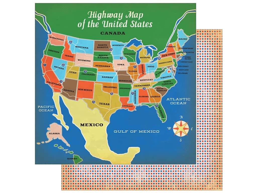 """Carta Bella Collection Are We There Yet Paper 12""""x 12"""" Highway Travel (25 pieces)"""